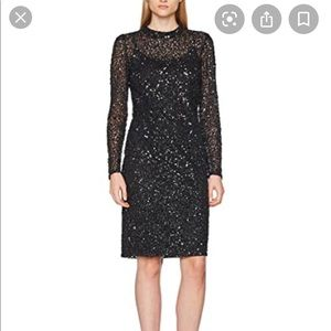 Adrianna papell short black sequin mock neck dress